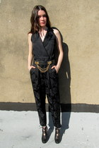 black jumpsuit some velvet vintage pants