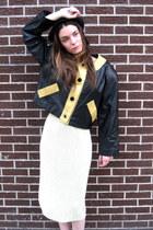 black leather some velvet vintage jacket