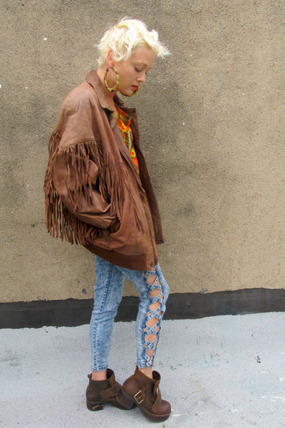 brown fringe some velvet vintage jacket