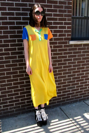 yellow color block some velvet vintage dress
