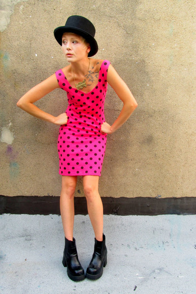 hot pink polka dot some velvet vintage dress