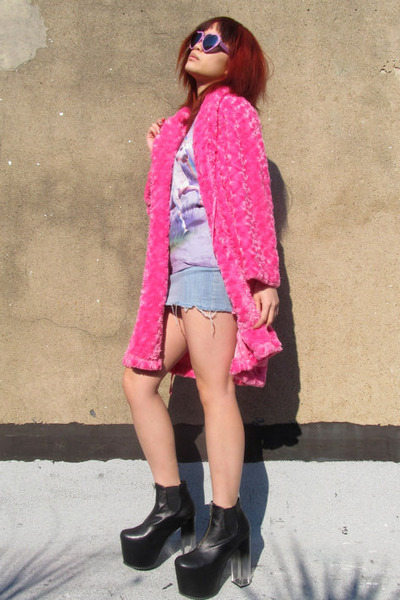 hot pink plush some velvet vintage coat