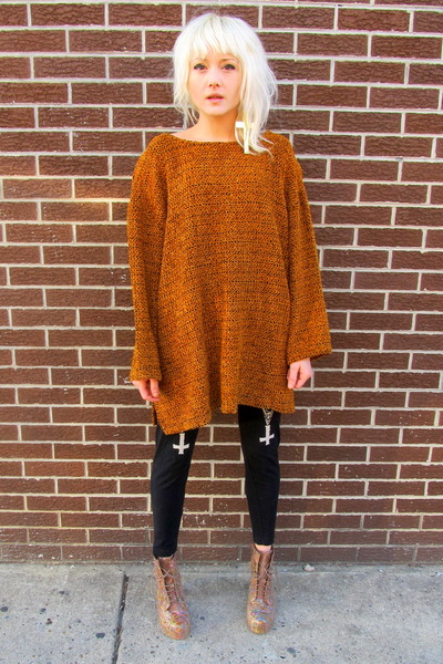 Burnt Orange Knit Some Velvet Vintage Sweaters, Black Actual Pain ...