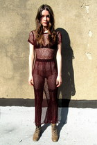 brick red mesh some velvet vintage dress