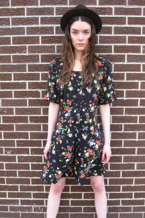 black floral some velvet vintage romper