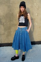 blue denim some velvet vintage skirt