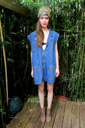 blue denim some velvet dress