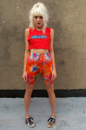 carrot orange tie dye some velvet vintage shorts