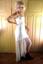 white lacy some velvet vintage dress