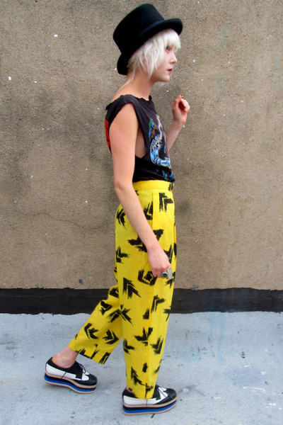 yellow abstract some velvet vintage pants