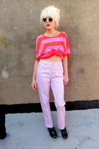 light pink pink some velvet vintage jeans - black creepers OASAP shoes