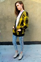 yellow plaid some velvet vintage sweater
