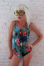 aquamarine jungle print some velvet vintage swimwear