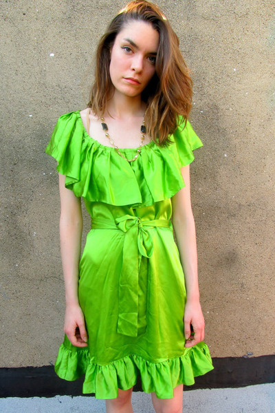 chartreuse silk Betsey Johnson dress