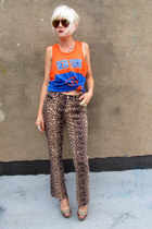 light brown leopard some velvet vintage pants