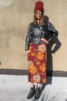 black faux leather some velvet vintage jacket