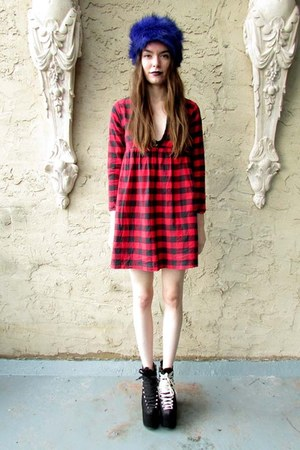 ruby red plaid some velvet vintage dress