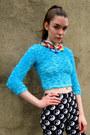 Turquoise-blue-fuzzy-some-velvet-vintage-shirt