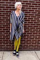 striped some velvet vintage dress - brogues Jeffrey Campbell shoes