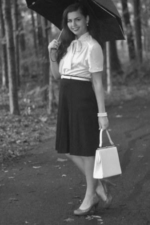 black thrifted blouse - white thrifted skirt
