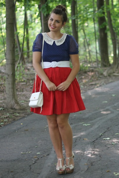 red Lulus dress - navy modcloth dress - white thrifted purse