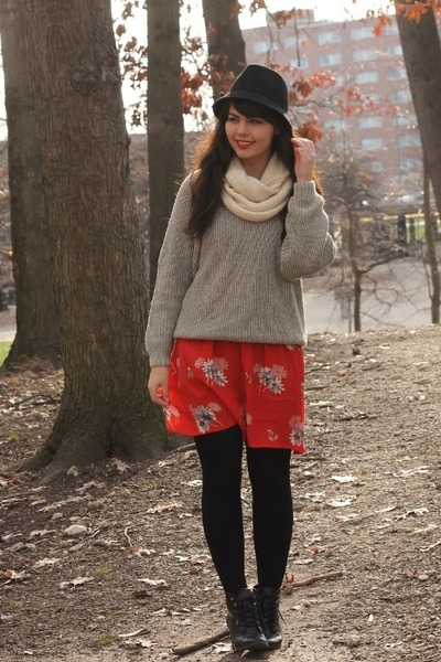red American Eagle dress - black Target hat - silver thrifted sweater