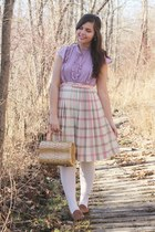 light yellow vintage purse - light pink vintage skirt