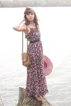 bubble gum kohls dress - bubble gum thrifted hat - tan thrifted purse
