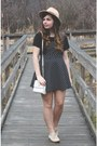 Black-forever21-dress-tan-brandy-melville-hat-ivory-thrifted-purse