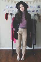crimson Forever21 shirt - tan Zara pants - black thrifted cardigan