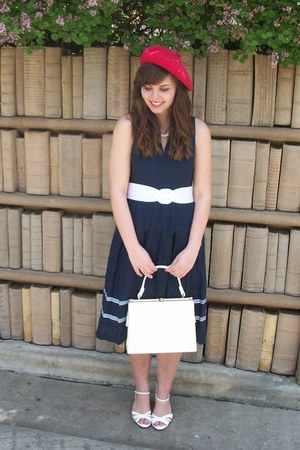 navy thrifted dress - red Target hat - white thrifted purse - white thrifted hee