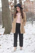 tan Forever21 coat - light pink vintage blouse - black Forever21 pants