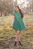dark brown pink and pepper boots - green OASAP dress