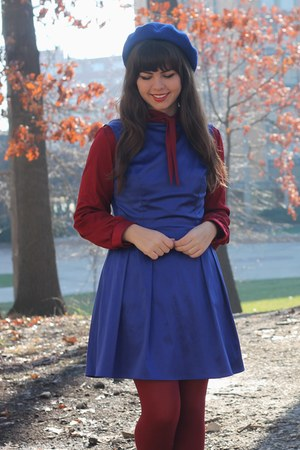 blue Lulus dress - ruby red thrifted blouse