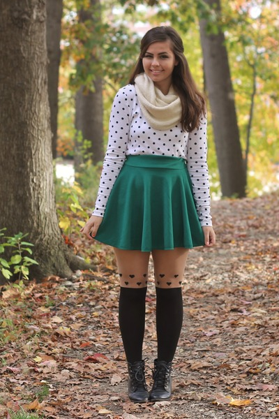 dark green OASAP skirt - ivory thrifted shirt - black OASAP tights