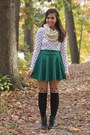 Ivory-thrifted-shirt-black-oasap-tights-dark-green-oasap-skirt