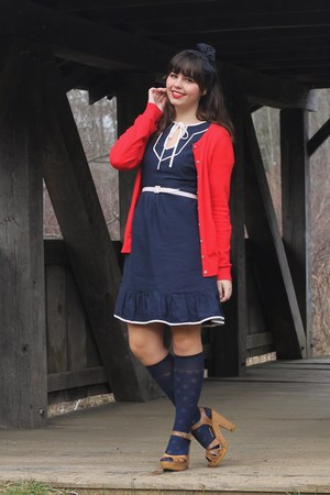 navy modcloth dress - red oldnavy cardigan - tan Target heels