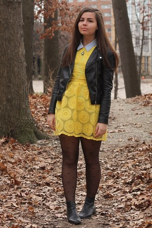 thrifted boots - OASAP dress - H&M jacket - thrifted shirt - OASAP tights