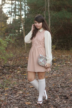 beige thrifted blouse - pink Fleet Collection dress