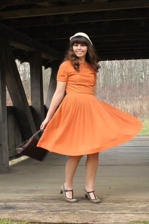 orange thrifted dress - beige thrifted hat - dark brown thrifted purse