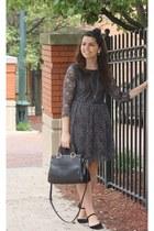 black LuLus shoes - heather gray Forever21 dress - black Handbag Heaven purse