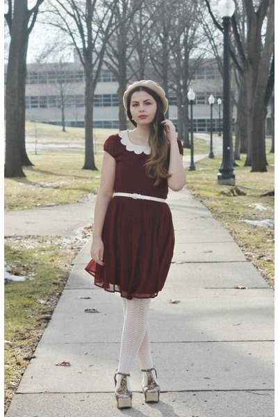 crimson modcloth dress - tan aa hat - off white thrifted heels