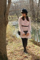 light pink modcloth dress - black H&M boots - black Target hat