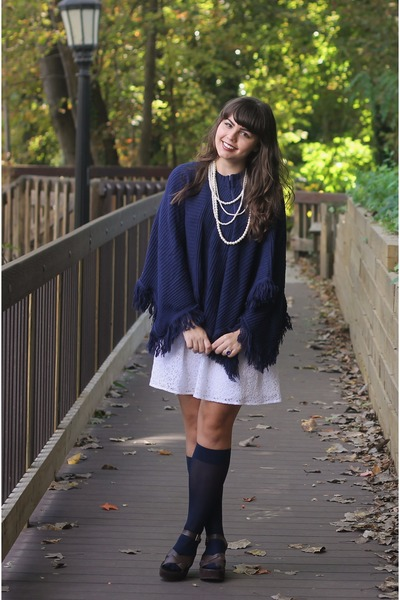 navy thrifted cape - white Delias dress - dark brown thrifted wedges