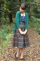 blue modcloth dress - dark green thifted cardigan - red thrifted skirt