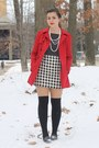 Red-forever21-coat-black-thrifted-shirt-white-thrifted-skirt