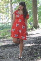 ruby red American Eagle dress - white thrifted flats