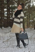 black OASAP scarf - beige modcloth dress - tan chicnova sweater