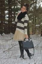 black OASAP scarf - beige modcloth dress - tan chicnova sweater