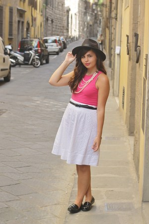 black OASAP hat - hot pink Aeropstale shirt - white thrifted skirt